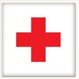 Abțibild intern cruce roşie,10 x10 cm