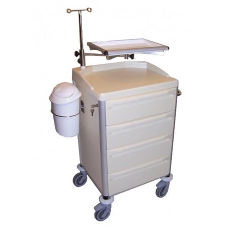 Carucior pentru reanimare cu suport pentru perfuzie și defibrilator