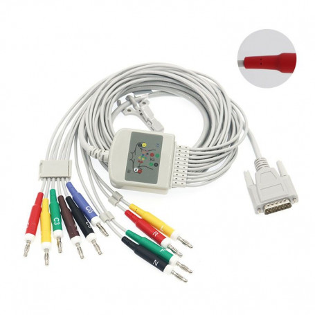 Cablu pacient EKG 10 fire compatibil EDAN, conectori banana 4 mm